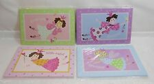 WHIMSICAL ANGELS & PRINCESSES WOOD PLAQUES - SATIN CORD - SET OF 4