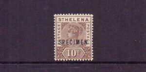 ST HELENA 1896 QV 10d BROWN SPECIMEN SG52s LMM