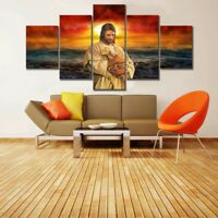 Jesus Christ holding sheep 5 panel canvas Wall Art Home Decor Print Poster