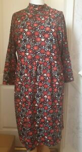 JOANIE Size 16 'Adele' High Neck Floral Print Dress- Retro, 60s Style, Zip Back