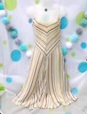 OASIS 90s Y2k Yellow Stripe Floaty Strappy Dress Size 14 Summer