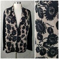 Issac Mizrahi Live Plus size 1X 16/18 Knit Cardigan Sweater Metallic Gold Floral