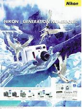 PUBLICITE ADVERTISING 056  2001   Nikon  appareil photo Coolpix 775