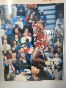 "NIP MICHAEL JORDAN Tongue  Chicago Bulls POSTER STICKER 1988 Jump Inc. 5""x6"" 10"