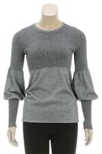 Chanel silver gray metallic ribbed knit cashmere Sweater XS-S