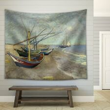 "Wall26- ""Fishing Boats on the Beach at Saintes-Maries"" - Fabric Tapestry - 51x60"