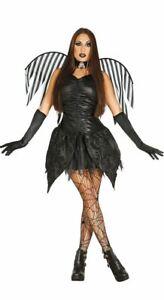 Womens Dark Angel Costume + Wings Halloween Gothic Ladies Fancy Dress Outfit