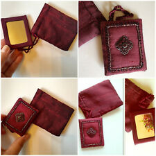 Silk embelished travel mirror and pouch set. Great gift Burgandy Anthropologie