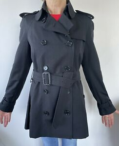 Burberry Prorsum Womens Double Breasted Black  Trench Coat Size 8