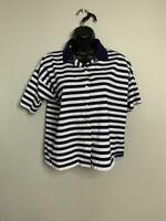 Diane Von Furstenberg Navy and White Striped Short Sleeve Womens L Shirt
