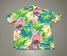 Vintage JAMS WORLD Beautiful Floral Colorful Button Front Hawaiian Shirt Size M