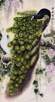 ORIGINAL ASIAN ART CHINESE FAMOUS WATERCOLOR PAINTING-Peacock birds lover&Flower