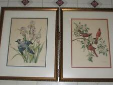 "VINTAGE MID CENTURY BIRD PRINTS CECIL GOLDING FLORIDA ART GALLERY 1950S 20""X24"""