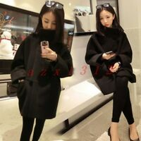 Chic Women Wool Blend Coat Jacket Outwear Warm Winter Stand Collar Korean Loose