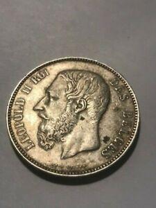 1874 Belgium 5 Francs Silver XF+ #21529