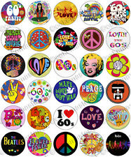 30 x 60's Sixties Party Edible Rice Wafer Paper Cupcake Toppers