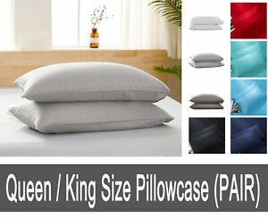 1000TC QUEEN / KING Size Pillowcase [PAIR] Black White Blue Silver Charcoal Grey