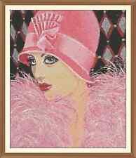 Art Deco Lady 3 Cross Stitch Chart  10.1 x 12.0Inches