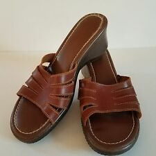 George Leather Sandals 9M Brown Slides Slip On Shoes Brazil Wedge Heels 2.75 in.