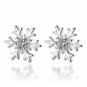 925 Silver Snowflake Zircon Earrings Ear Stud Women Party Christmas Jewelry Xmas