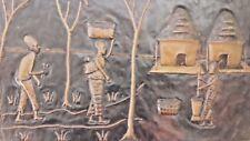 Grand Tableau Cuivre Repoussé Art Africain scène de vie