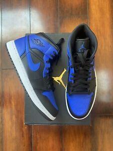 Nike Air Jordan 1 Mid Hyper Royal Black (554724-077) Size 8, 10 Brand New