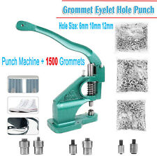 Grommet Eyelet Hole Punch Machine Hand Press Tool Banner Bag+3 Dies+1500Grommets