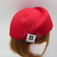 VINTAGE Wool Felt Women Beret Pillbox Hat Groove Stewardess FORMAL   57cm   Red