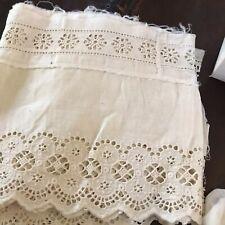 Antique Edwardian Victorian Eyelette Lace Dress Scalloped Flounce 80� X 7