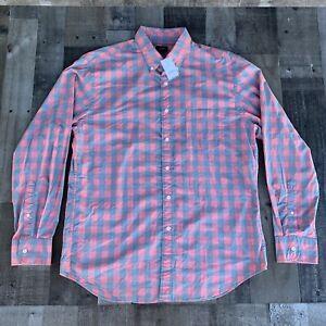 NEW NWT J CREW Long Sleeve Button Down Plaid Check Shirt Pink Grey Mens Size Lg