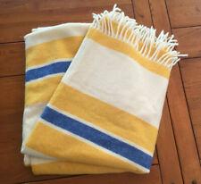 Creation Irene By Eskimo of Switzerland -Cashmere Wool Throw Striped Ivory Blue