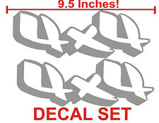 4x4 Truck Bed Decals, Silver (Set) for Chevrolet Silverado and GMC Sierra