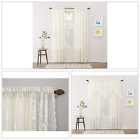 Floral Lace Sheer Rod Pocket Curtain Panel 58 x 84 in. Ivory Window Treatments