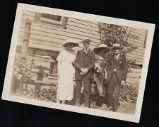 Old Vintage Antique Photograph People Standing In Yard Wearing Cool Outfits 1920