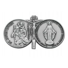 Visor Clip St Christopher & Miraculous Medal Silver Pewter Vintage Car Catholic
