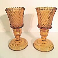 Amber Diamond Point Peg Style Votive Cups & Swirl Base Candle Holders - Pair