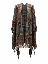 Womens Plaids&Checked Grey Winter Tartan Cape Shawl Poncho One Size/Burns Night