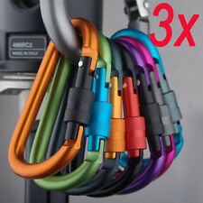 3x Outdoor D-Ring Keys Aluminum Carabiner Chain Keyring Clip Snap Lock Karabiner