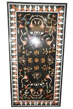 """48"""" x 24"""" Black Marble Dining Table Top Inlay Pietra Dura Work"""