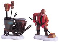 Lemax 2005 Street Sweeper Set Of 2 Village Figurines #52093 Balayeur de rues