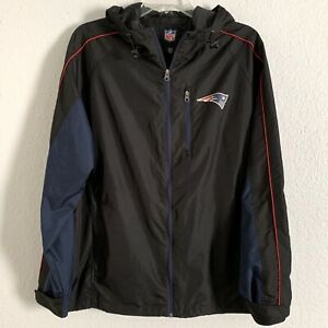 NFL Patriots Jacket Black Navy Lightweight Hooded Zip Front Drawstring