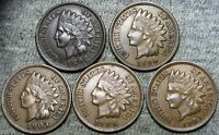 1892 1890 1903 1906 1907 Indian Cent Penny  --- Nice Details Lot --- #D435