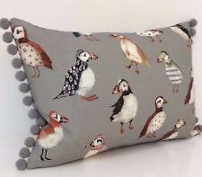 Puffin Cushion Accent Cover Seaside Bird Beach Taupe Fabric Grey pom pom 12x18""