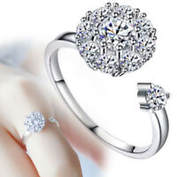 Women Fashion Rhinestone Inlaid Rotating Open Finger Ring Party Jewelry Gifts B