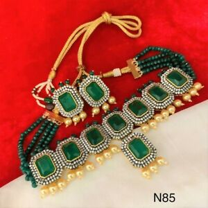 Bollywood Indian Gold Tone Wedding Bridal Green Pearl Choker AD CZ Necklace Set