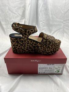 Salvatore Ferragamo Women's Cheetah Faux Fur Platform Heels (9.5B) Suede