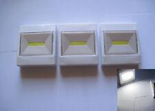 3x  6W COB LED Push Tap Stick On Battery Powered Car Home Wardrobe White Light