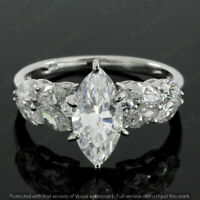 2.80Ct Marquise-Cut Brilliant Diamond Solitaire Engagement Ring 14k White Gold