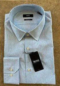 Hugo Boss Black Label Enzo Dress Shirt 16.5 32/33 Regular Blue Stripe NWT $128