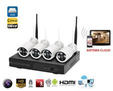KIT  4 CANALI HD VIDEOSORVEGLIANZA IP WIFI CON SISTEMA CLOUD 4 TELECAMERE+DVR